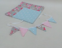 Tablecloth and bunting set - blue dotty