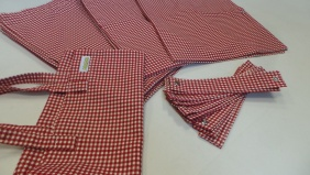 Split Screen 11 Window curtain set - Gingham Red